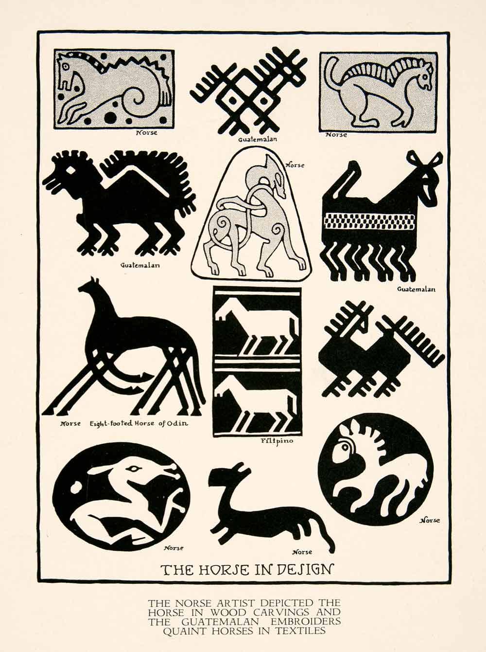 1929 Print Horse Design Image Icon Symbol Geometric Shape Ancient Culture XDE9