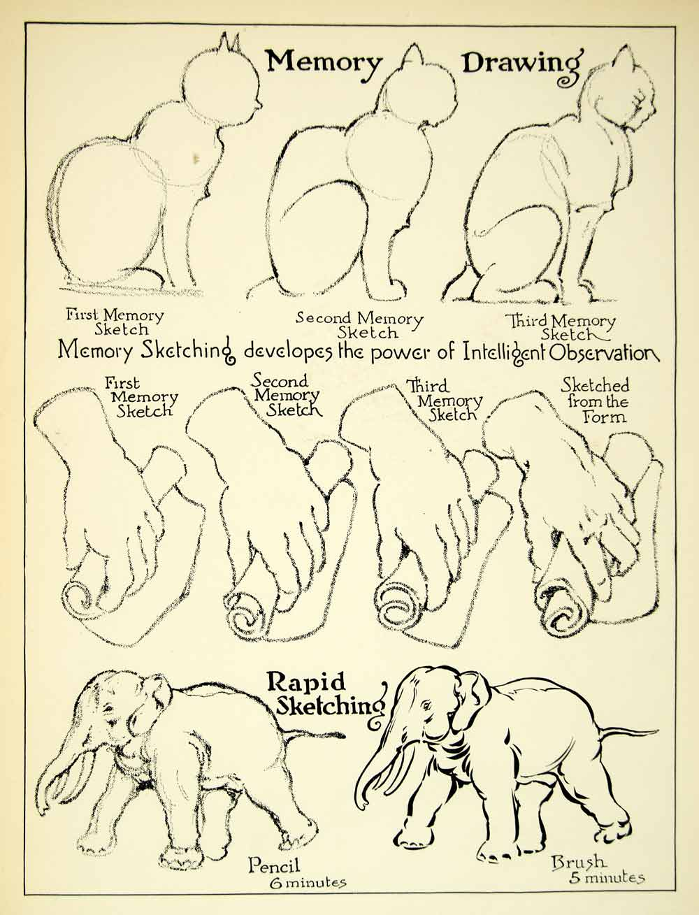 1938 Print Cat Elephant Hand Drawing Guide Sketch Memory Technique Animal Art