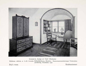 1931 Print Boy Room Household Domestic Stockholm Sweden Furniture Rug Chair XDF9