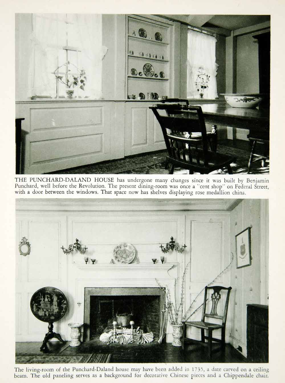 1950 Rotogravure Punchard-Daland House Furniture Salem Massachusetts XDG1