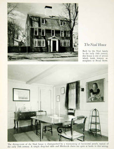 1950 Rotogravure Salem Massachusetts Neal House Architecture Dining Room XDG1