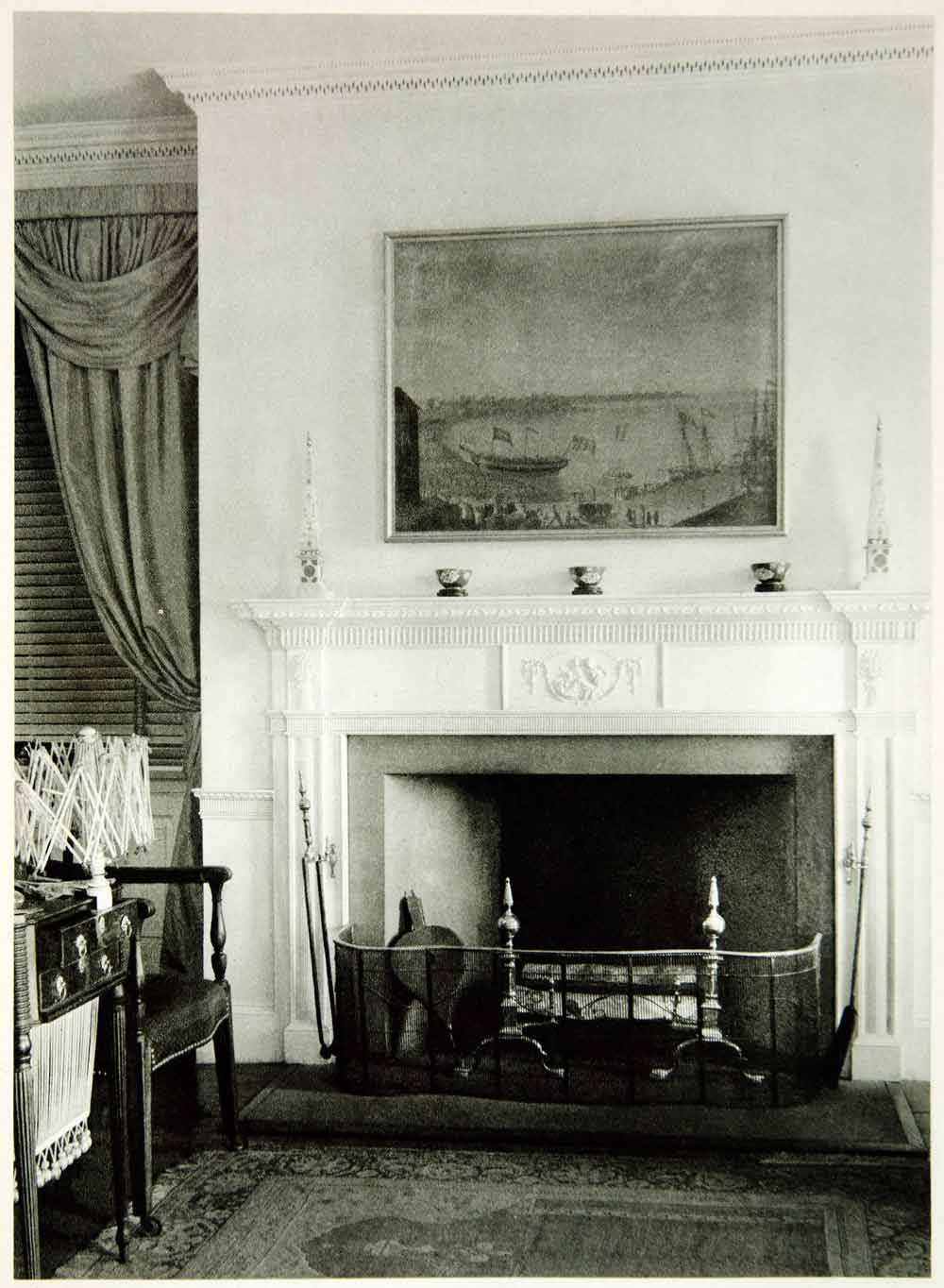 1950 Rotogravure Pingree House Salem Massachusetts Fireplace Bedroom XDG1