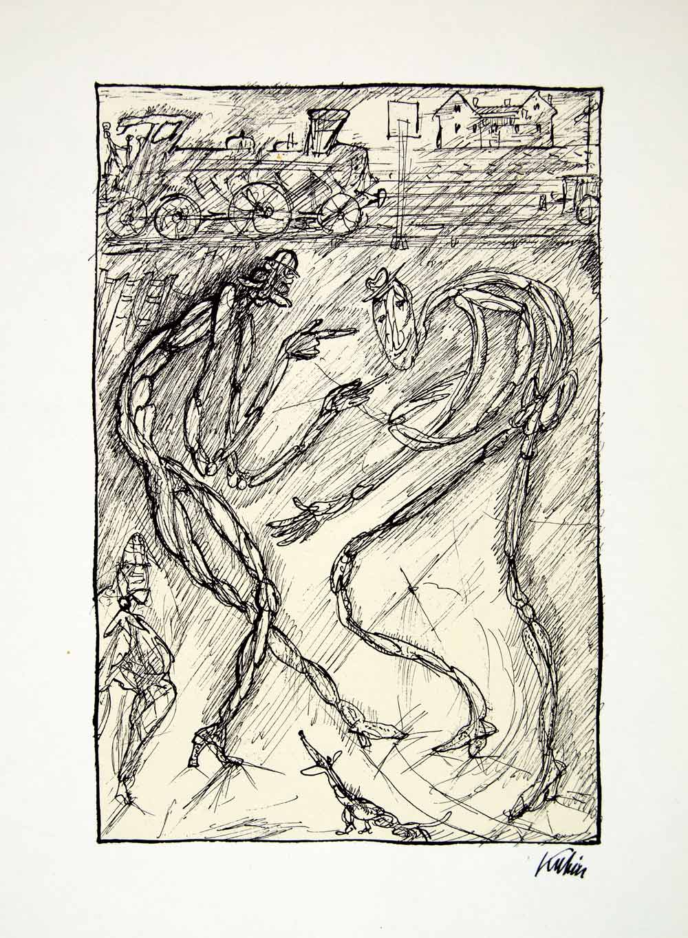 1969 Aquatone Print Alfred Kubin Modern Sketch Art Lively Dispute XDG2