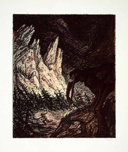 1969 Aquatone Print Alfred Kubin Surreal Art Mythical Beast Hurricane XDG2