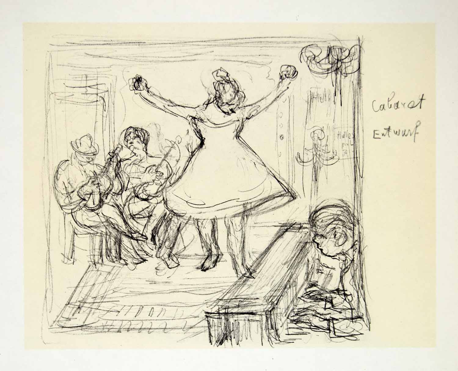 1969 aquatone print alfred kubin art cabaret pencil sketch musical family xdg2