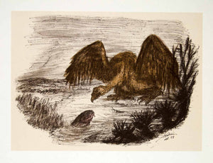 1969 Aquatone Print Alfred Kubin Modern Wildlife Art Vulture Bird Hunting XDG2