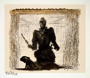 1969 Aquatone Print Alfred Kubin Modern Art Creepy Dark King Royalty XDG2