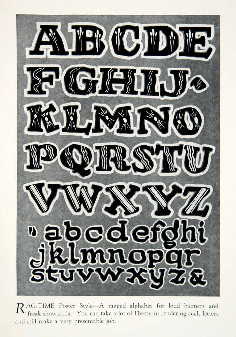 1928 Print Ragtime Poster Style Typography Alphabet Letter Graphic Design XDG4