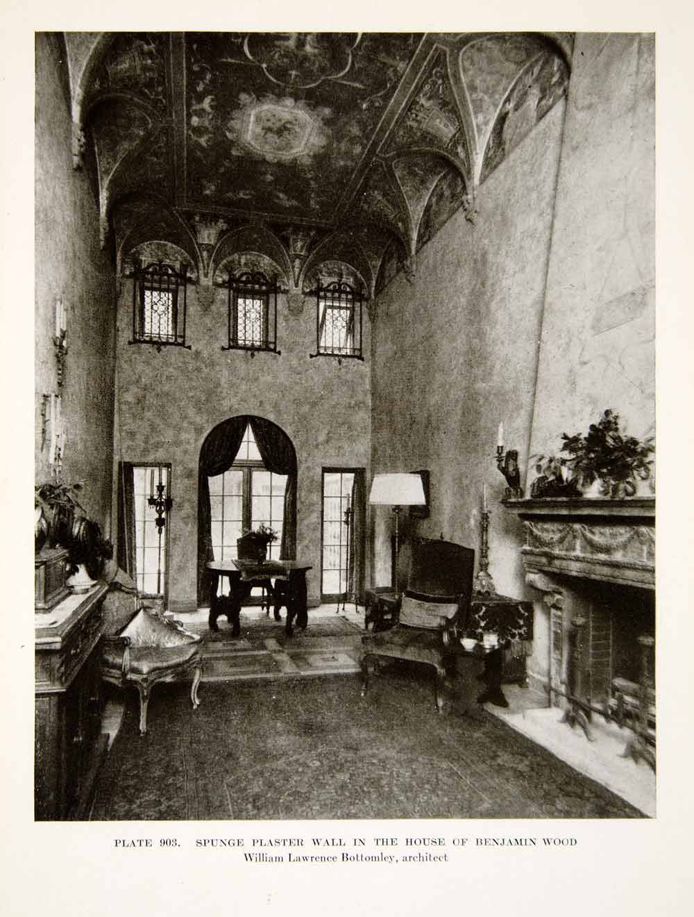 1926 Print Interior Room Decorated Plaster Home House Benjamin Wood XDG6