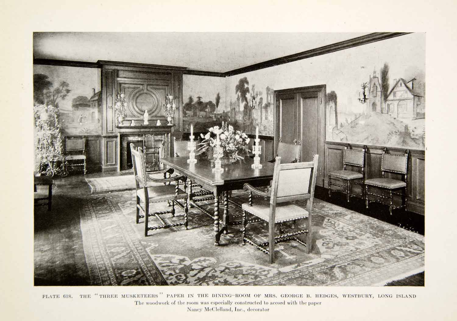 1926 Print Three Muskateers Dinning Room George B Hedges Interior Design XDG6