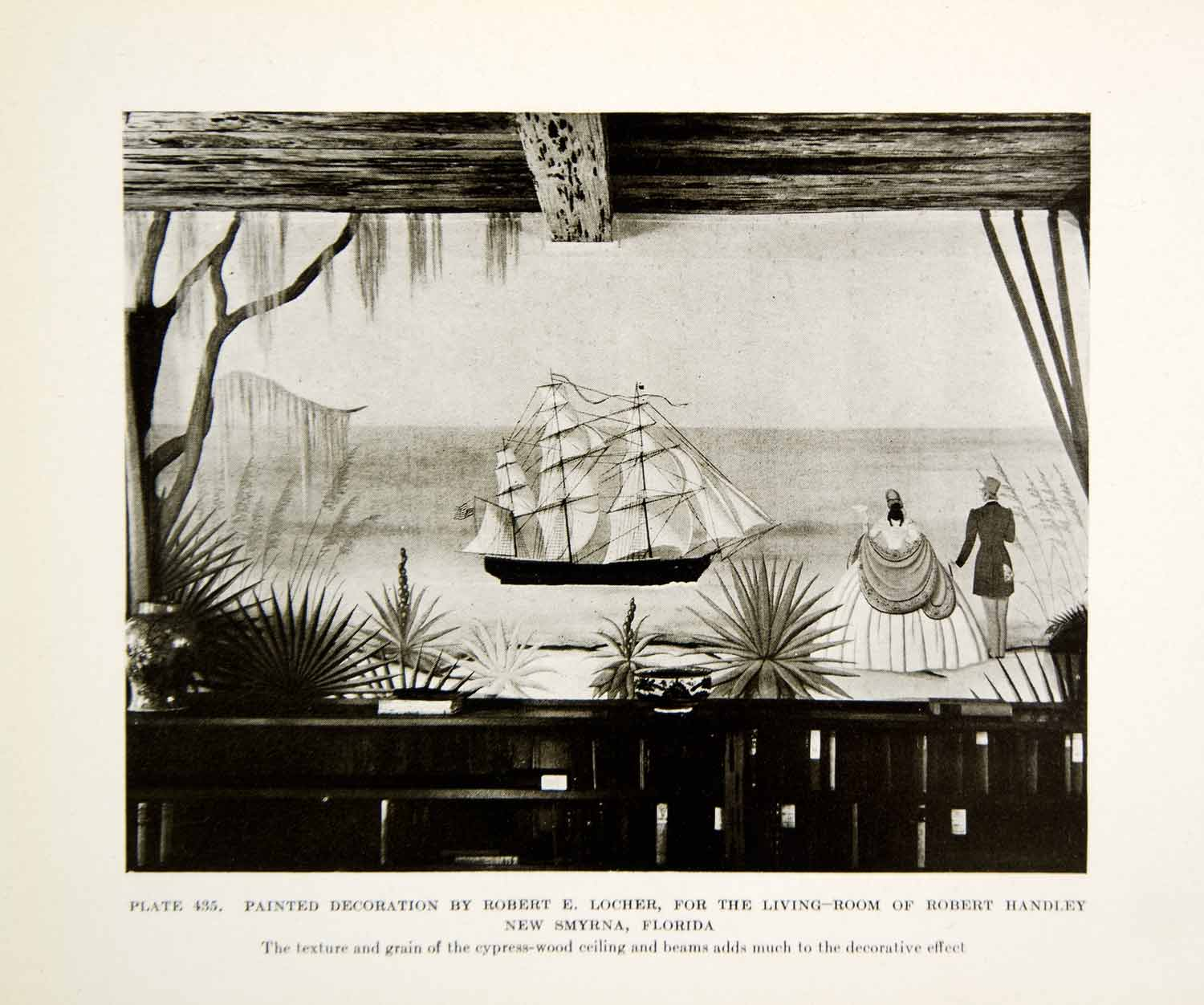 1926 Print Ship Interior Decoration Design Robert E Loucher Furniture Sail XDG6