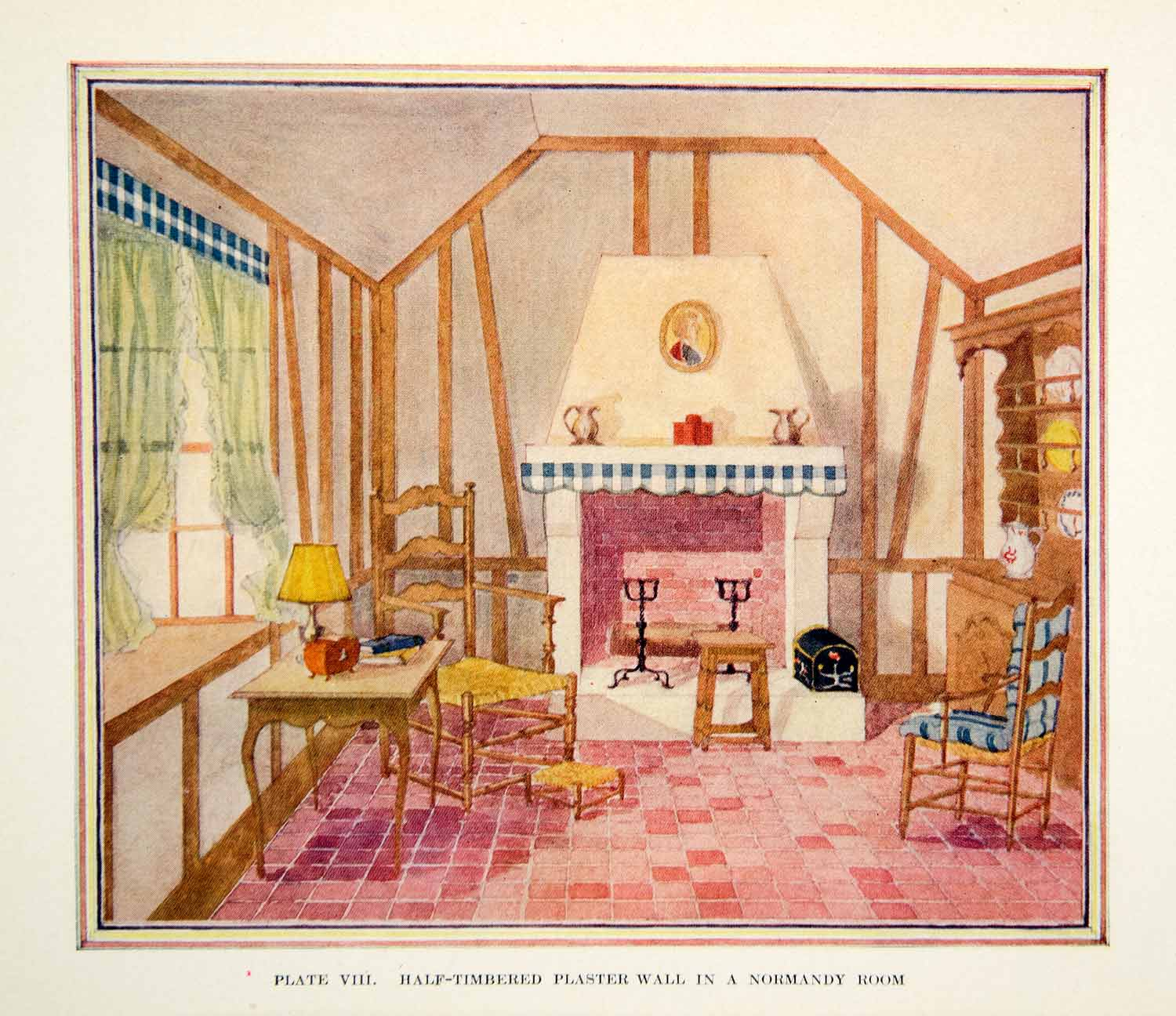1926 Color Print Trimmed Plaster Wall Normandy Interior Design Decoration XDG6