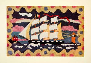 1934 Print Textile Rug Modern Ship Ocean Interior Decorating Ocean XDG9