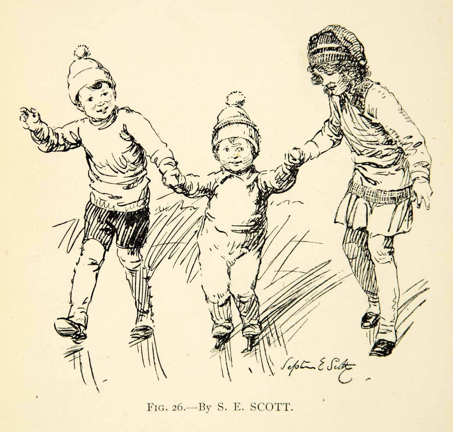 1927 Print Children Ice Skating S E Scott Skates Ice Winter Baby Hats XDH1