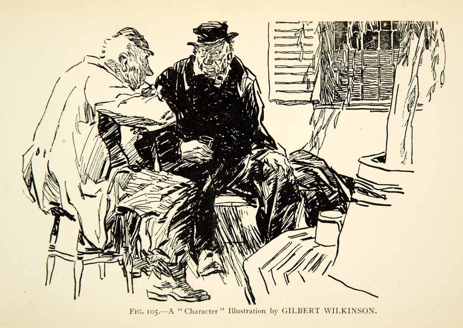 1927 Print Character Illustration Study Sketch Gilbert Wilkinson Old Men XDH1
