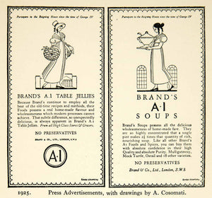 1927 Offset Lithograph Press Advertisements Brand's A-1 Soups Table Jellies XDH5