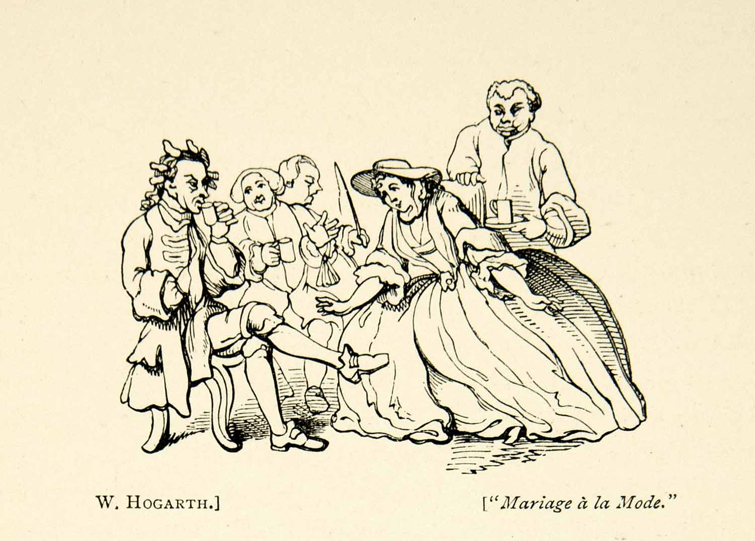 1893 Print William Hogarth Art Cartoon Marriage A La Mode Humorous Satire XDH8