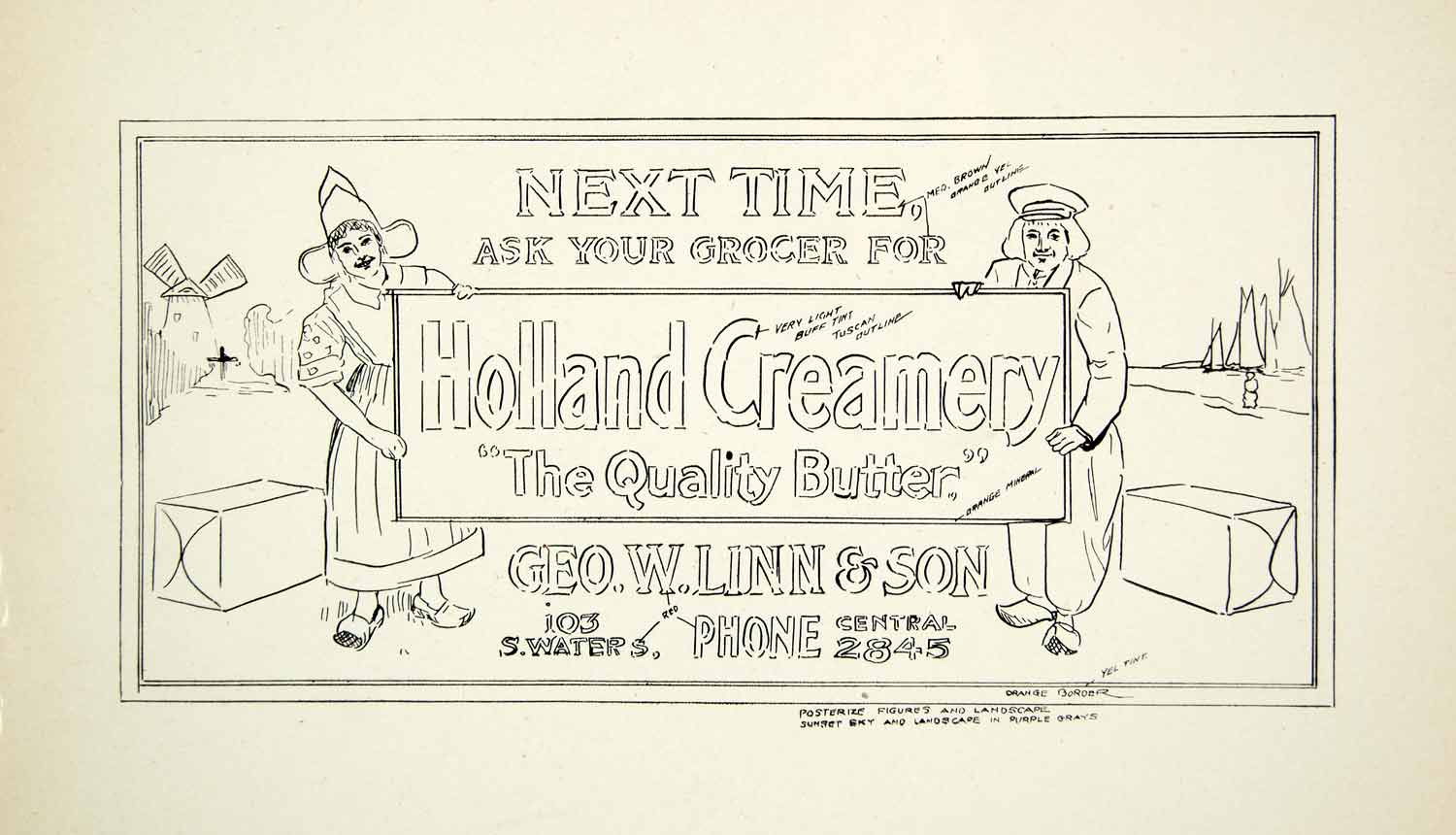 1937 Print Template Layout Diagram Sign Holland Creamery Dutch Geo W Linn XDI7