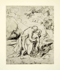 1938 Rotogravure The Kiss Honore Daumier Nude Woman Man Scenery Embrace Die XDI8
