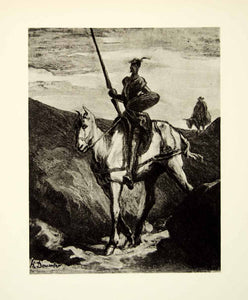 1938 Rotogravure Don Quixote Mountains Horse Travel Spear Shield Armor XDI8