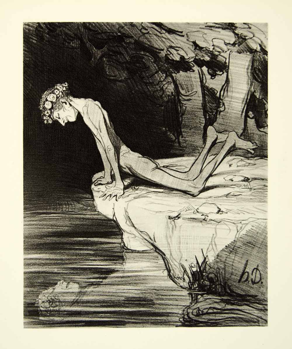 rotogravure narcissus honore daumier reflection lake narcisse 1938 rotogravure narcissus honore daumier reflection lake narcisse xdi8