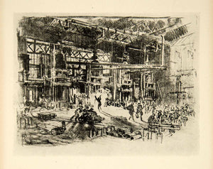 1917 Print Press Joseph Pennell Industrial Factory Warehouse World War I XDJ1