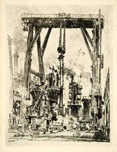 1917 Print Gun Pit Machinery Joseph Pennell World War I England Industrial XDJ1