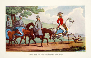 1904 Color Print Rowlandson Johnny Newcome Officer British Army Bicorn XDJ5