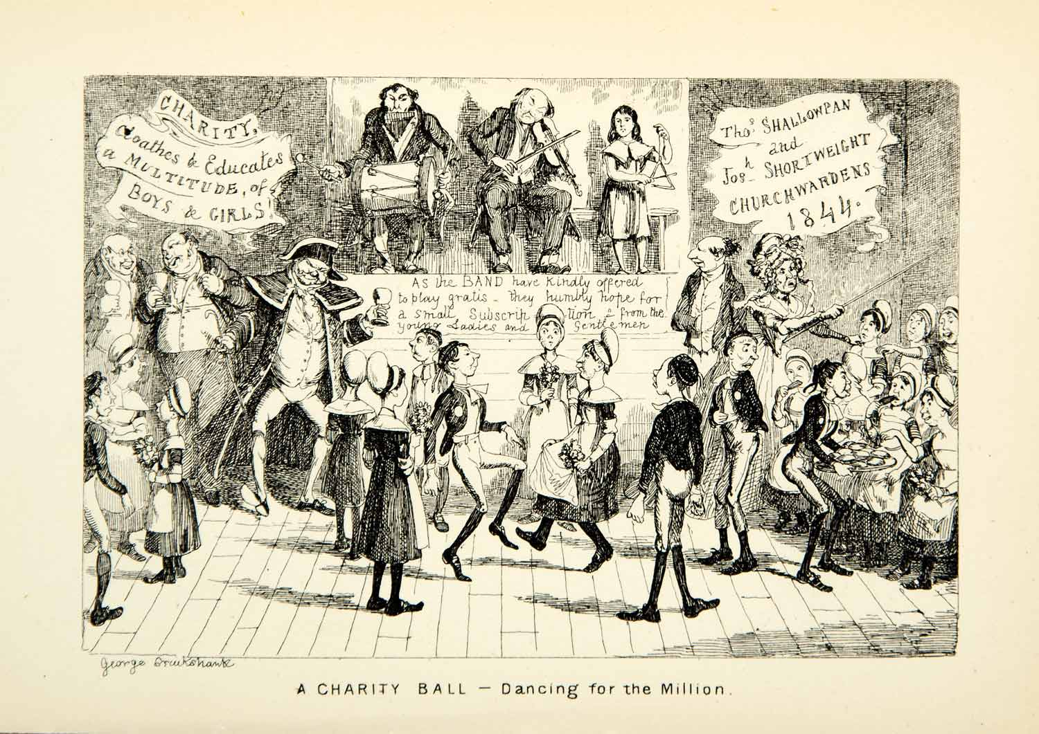 1912 Print Charity Ball Children Dancing Musicians George Cruikshank XDJ7
