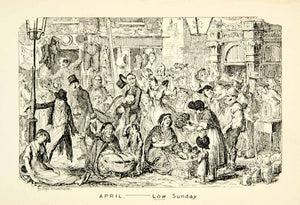 1912 Print Low Sunday English April George Cruikshank Market Cityscape XDJ7