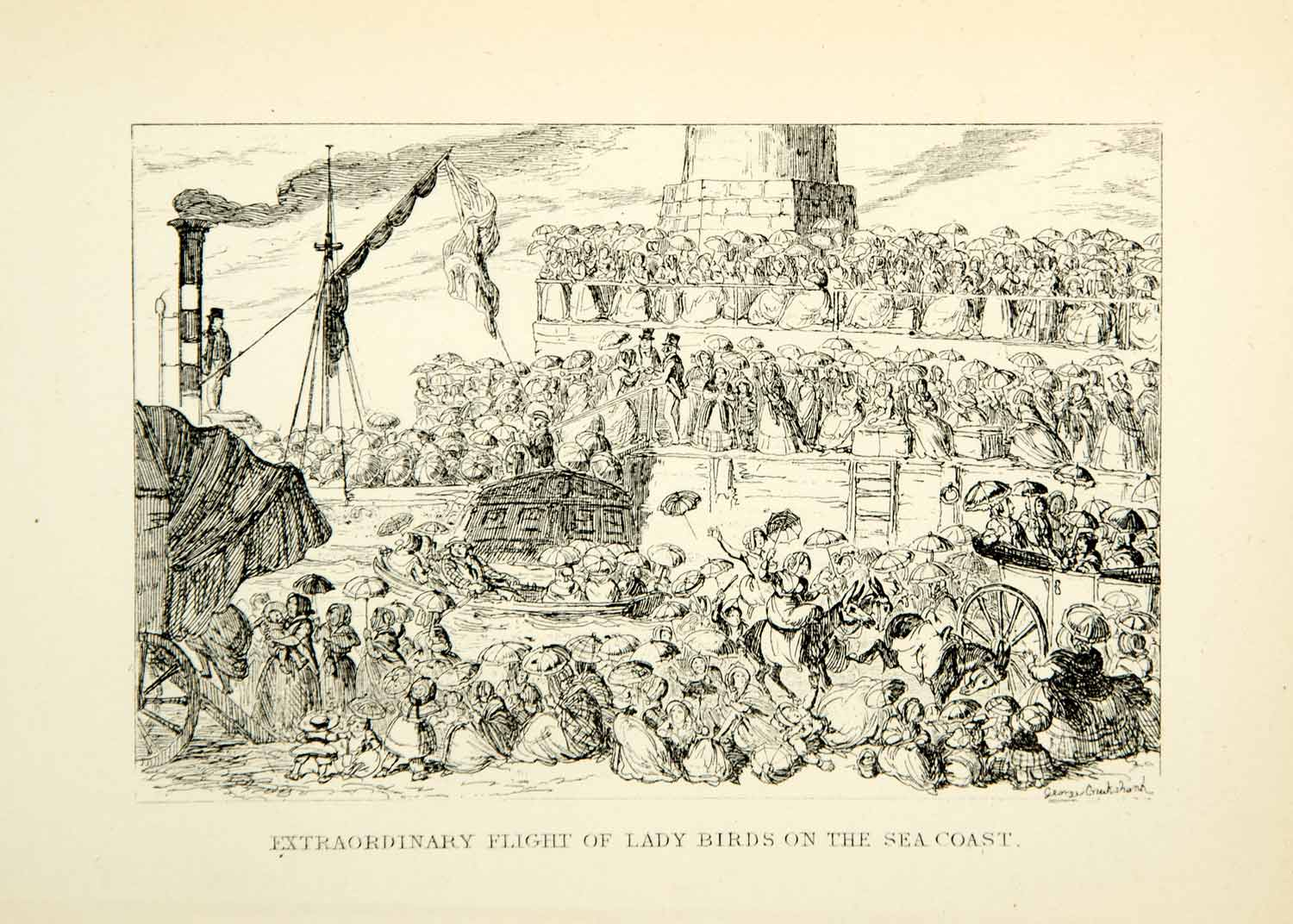 1912 Print Extraordinary Lady Birds Coast Women Ship George Cruikshank XDJ7