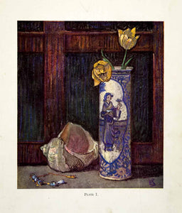 1927 Color Print Leonard Richmond Still Life Conch Shell Tulip Vase Beads XDJ9