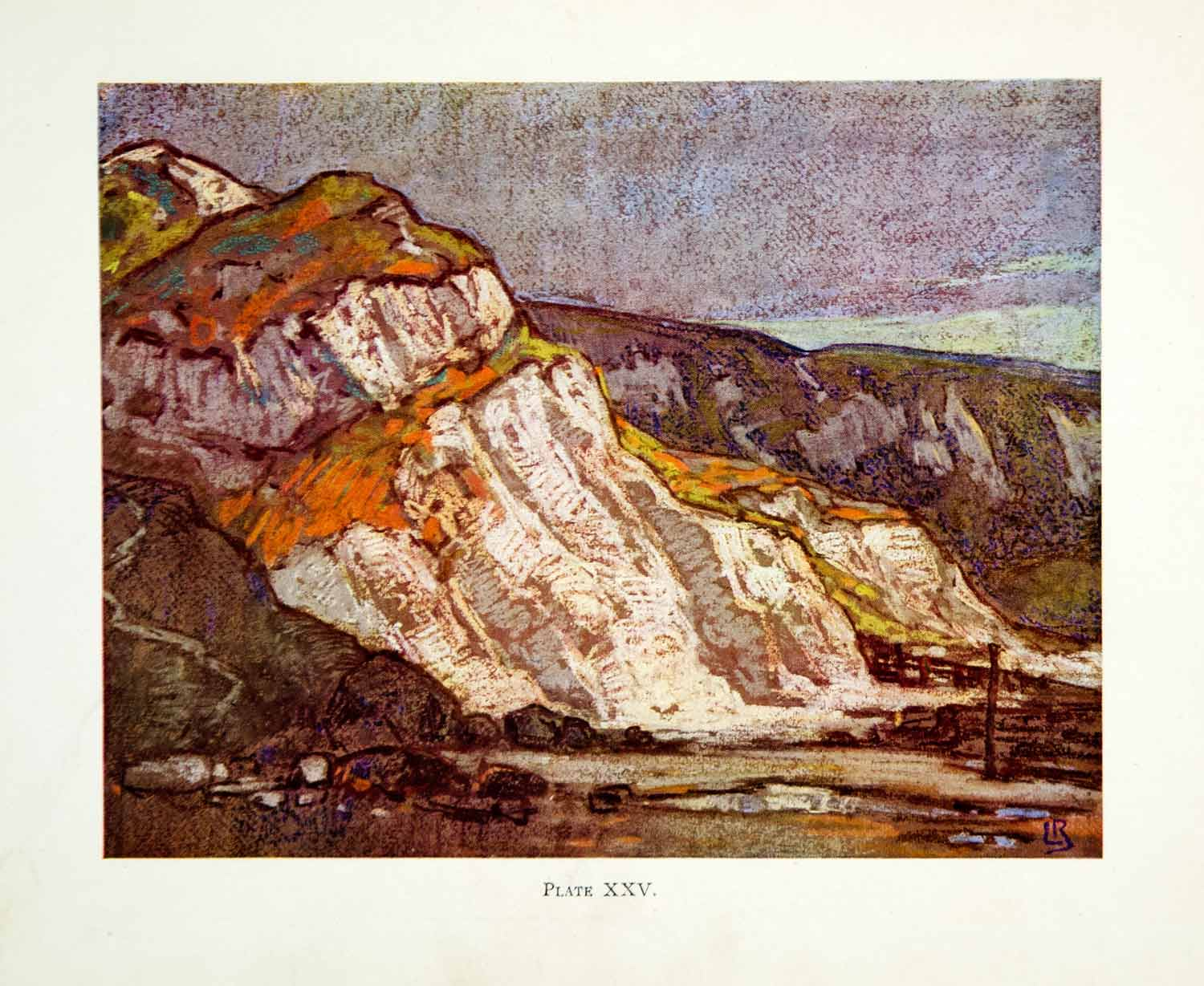 1927 Color Print Leonard Richmond Landscape Cliff Mountain Pastel Art White XDJ9