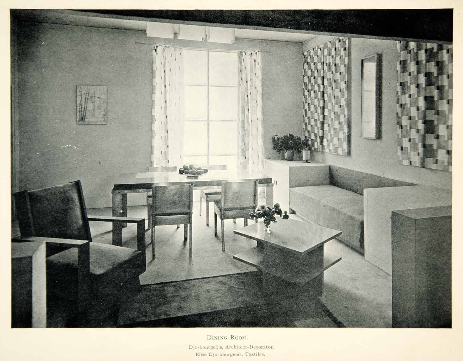 1930 Print Art Deco Georges Djo-Bourgeois Dining Room French Interior XDK3
