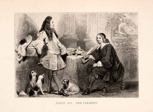 1887 Lithograph French King Louis XIV Dogs Jean Baptiste Colbert Costume XEA5