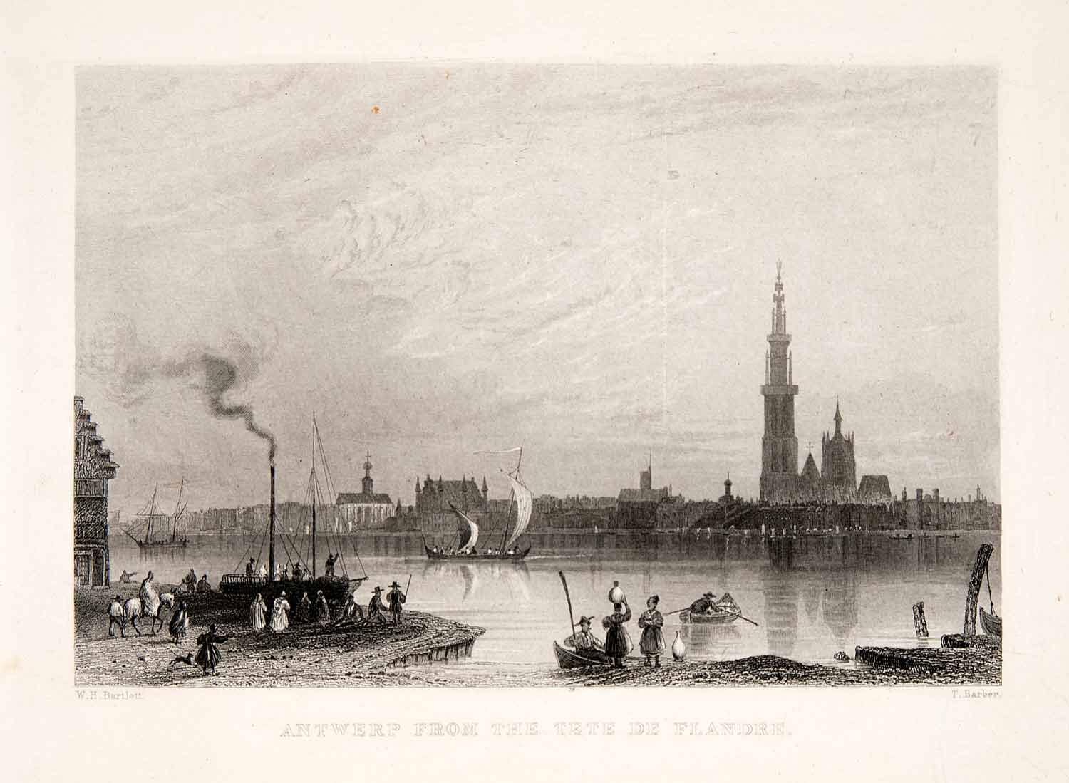 1875 Steel Engraving William Henry Bartlett Antwerp Flanders Spire XEA6