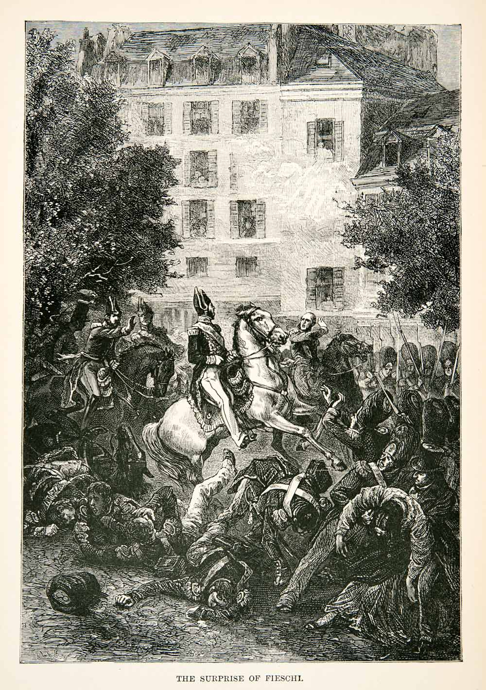 1877 Wood Engraving Battle French Guiseppe Marco Fieschi Boulevard du XEA7