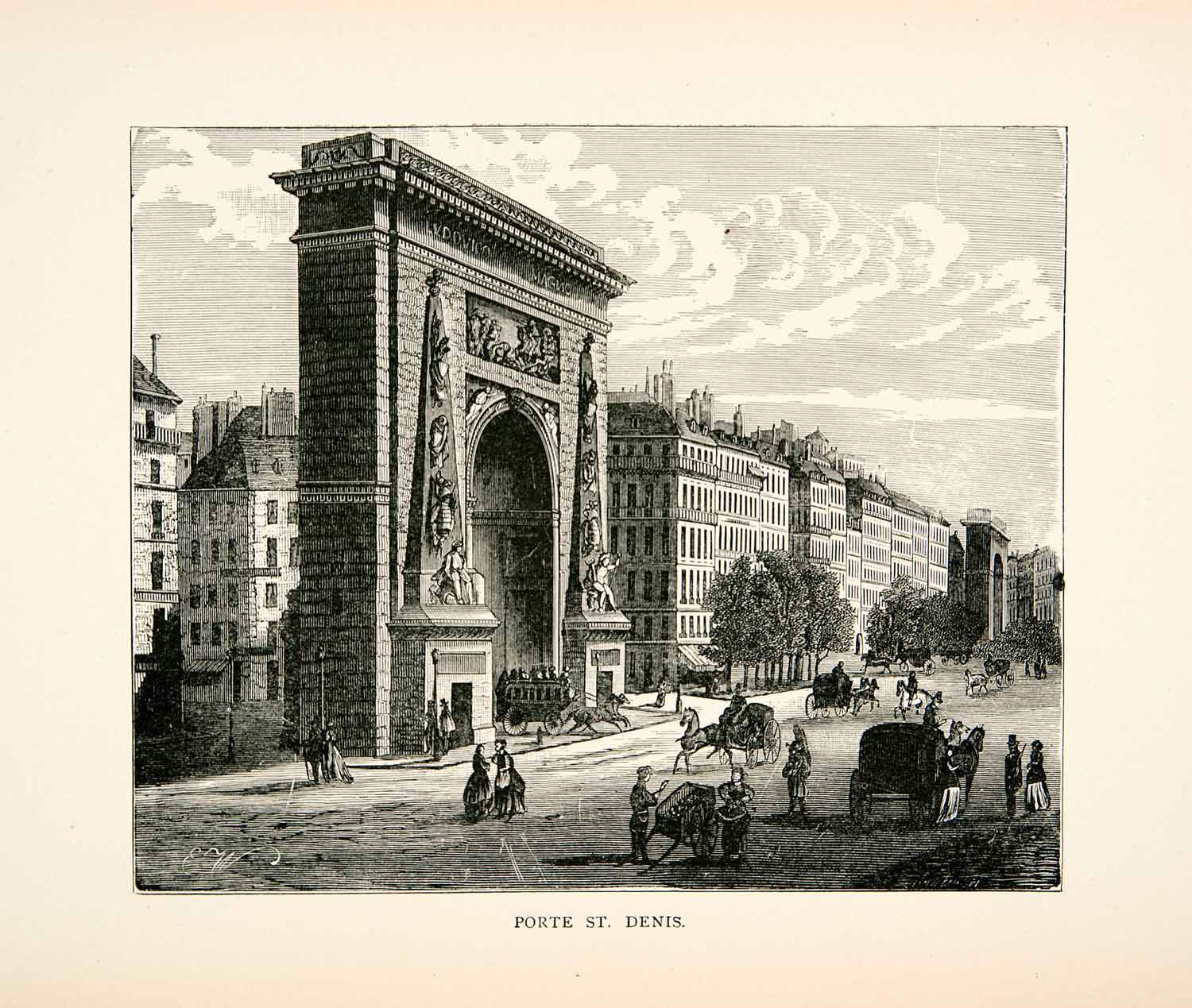 1877 Wood Engraving Porte St. Denis Paris France Arch Monument Rue XEA7