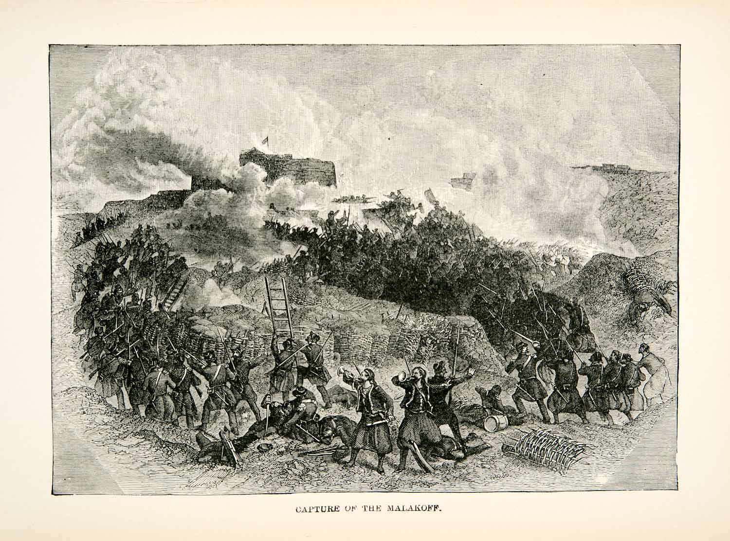 1877 Wood Engraving Capture Malakoff Battle Crimean War Zouave France XEA7