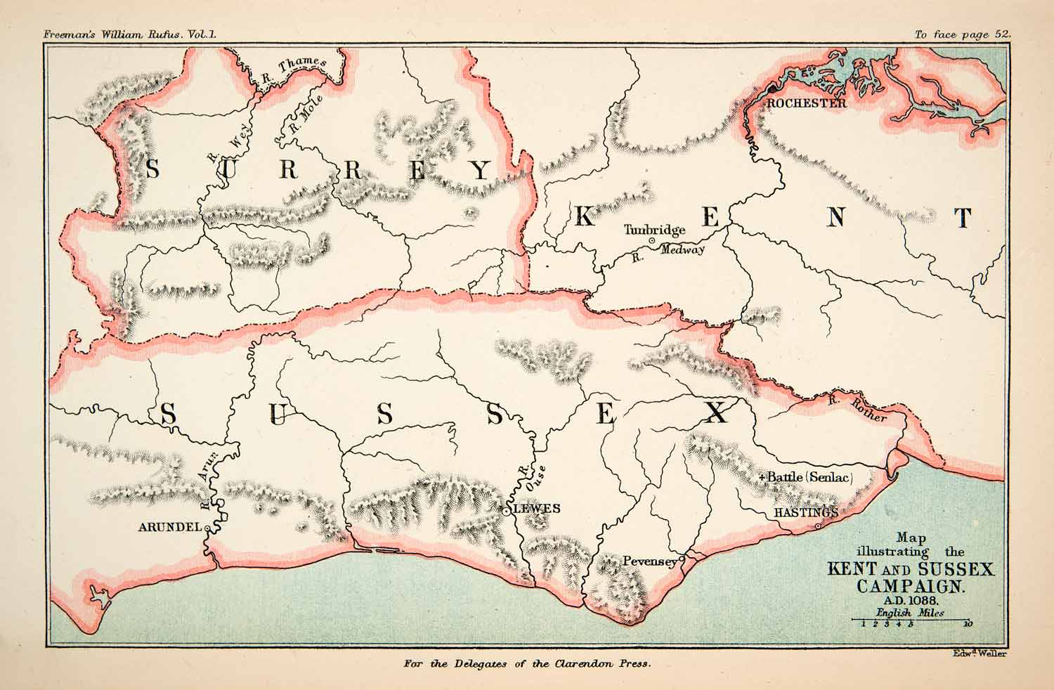 Kent Map Of England.1882 Lithograph Ancient Map King William England Kent Sussex Surrey Arundel Xea9