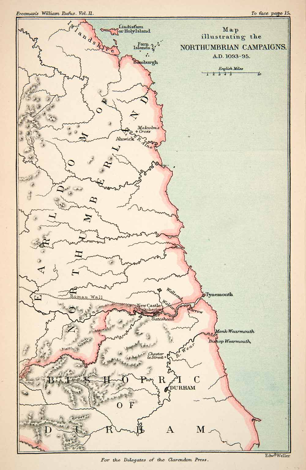 Map Of England Durham.1882 Lithograph Ancient War Map Northumberland England Bishopric Durham Xea9