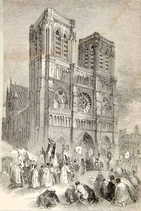 1853 Wood Engraving Paris Notre Dame Cathedral France Gothic Roman XEAA6