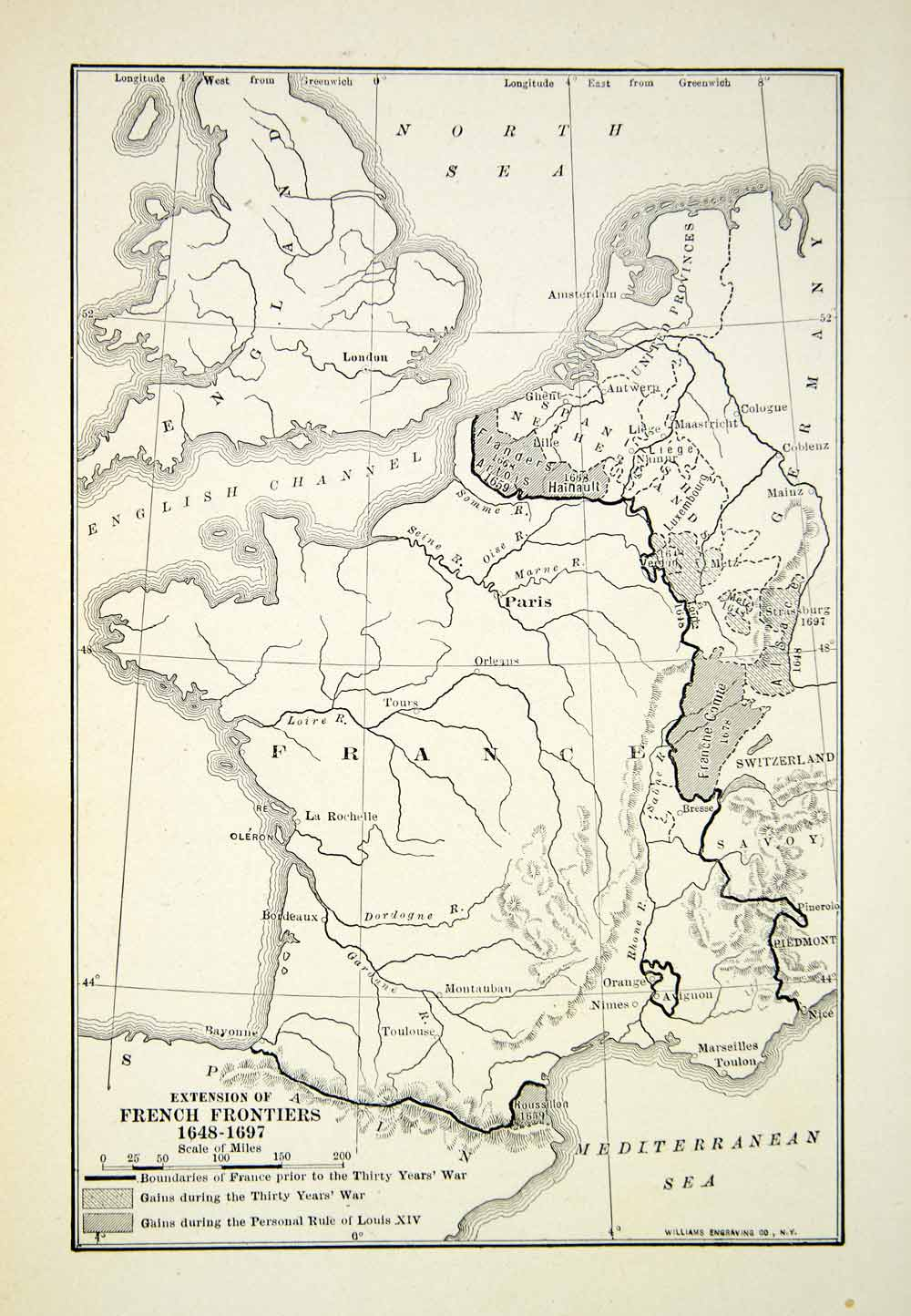 1918 Print Map French Frontiers France Mediterranean Sea England Germany XEAA7