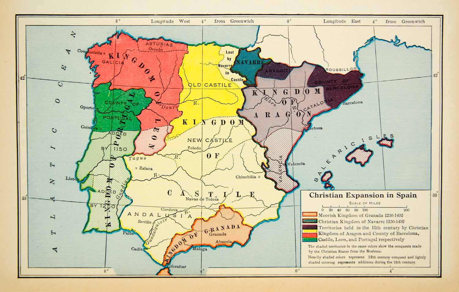 Map Of Spain Oceans.1945 Lithograph Christian Expansion Spain Atlantic Ocean Balearic Isles Xeaa9