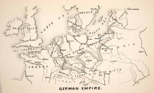 1871 Wood Engraving German Empire France Russia Map Netherlands Austria XEB6