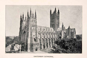 1902 Print Canterbury Cathedral Kent England Christian Gothic Architecture XEB8