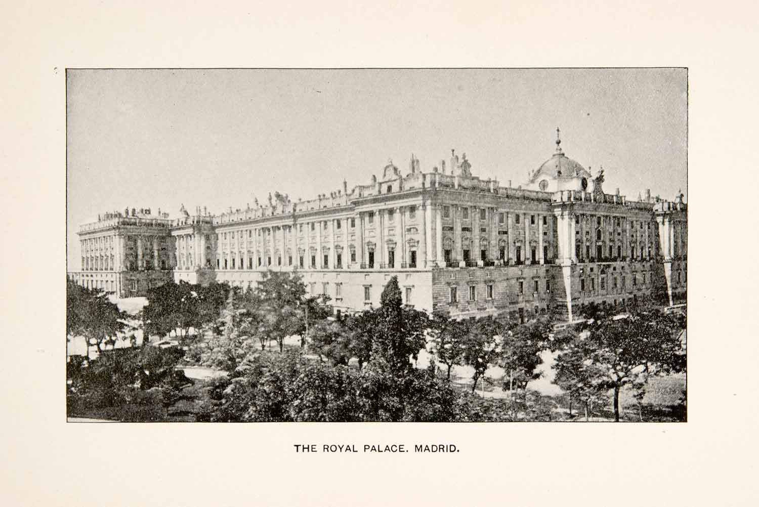 1902 Print Royal Palace Madrid Spain Calle de Bailen Fortress Historic XEB8