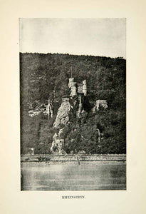 1912 Print Landscape Middle Ages Rheinstein Burg Castle Germany Strategic XEBA2