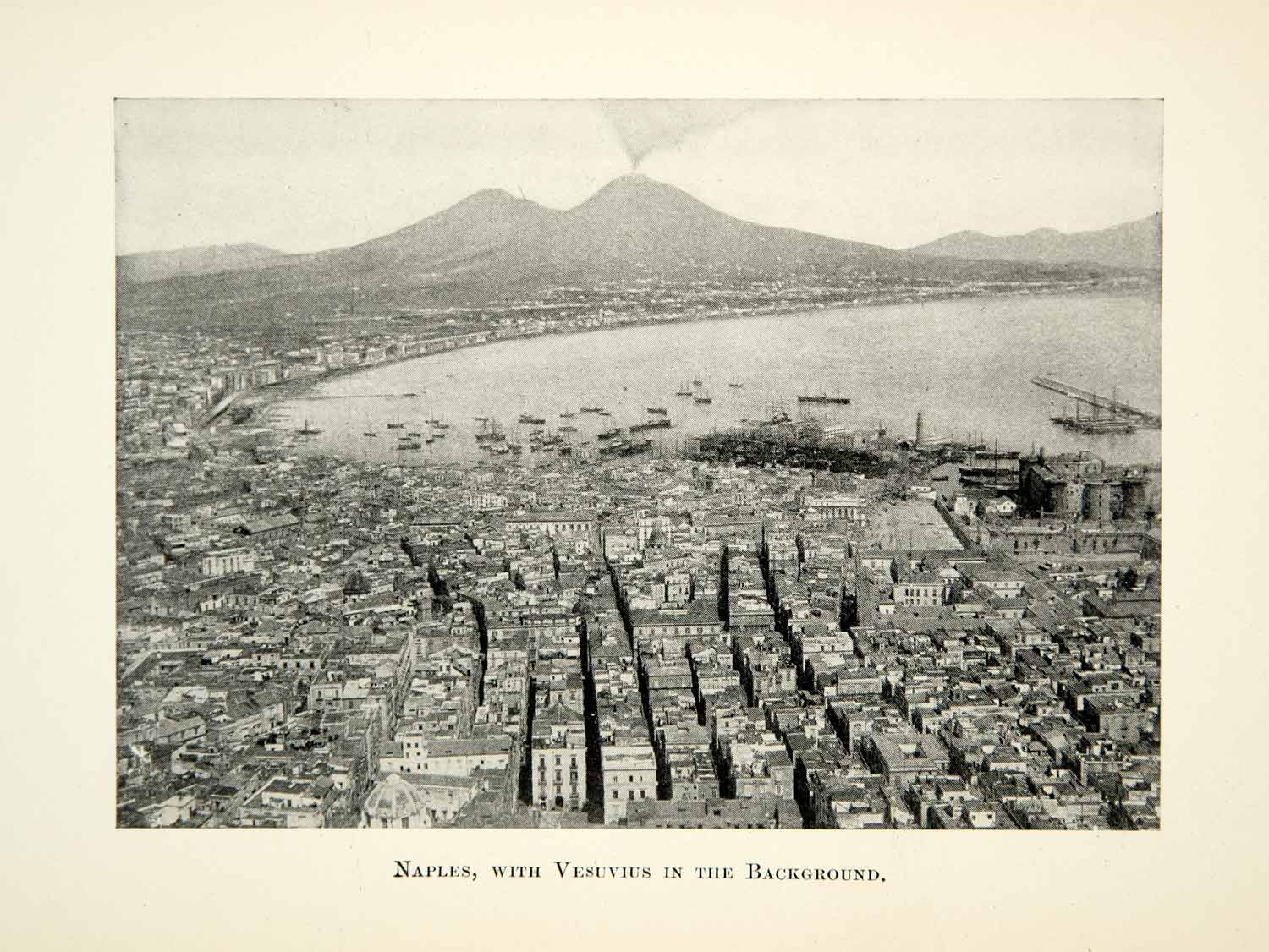 1912 Print Cityscape Naples Vesuvius Mount Water Port Harbor Italy XEBA2