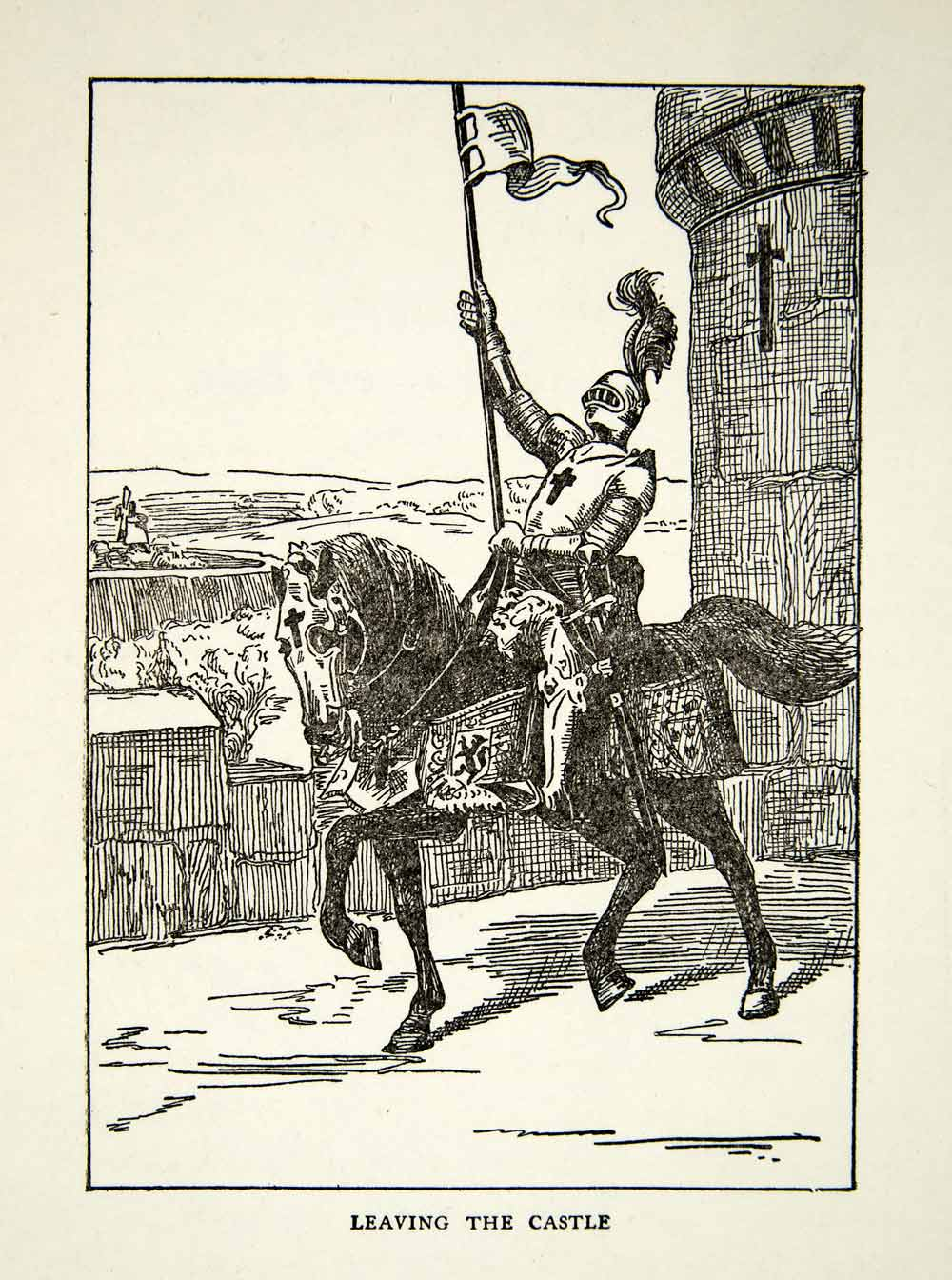 1939 Print Knight Leaving Castle Horse Armor Knighthood Mounted Middle XEBA4